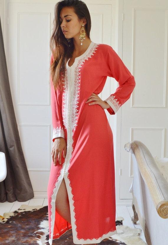 Salmon Pink Caftan Maxi Dress- Karima-loungewear, Birthdays,Honeymoon or Maternity Gifts, kaftan, Ramadan, Eid