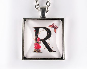 Letter R pendant - flowers and butterflies