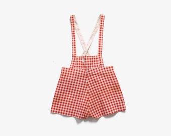 Vintage 40s Deadstock Romper / 1940s Unworn Red Gingham Feedsack Cotton Overalls Jumper Onesie 4T