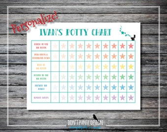 Printable Toddler Potty Chart with Stars - 8.5x11 - Boy Potty Chart - Customizable