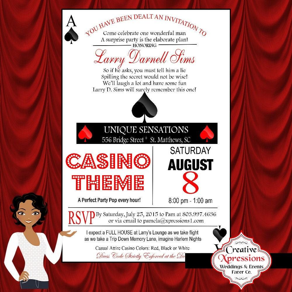 Casino Theme Ace of Spade Adult Birthday Invitation