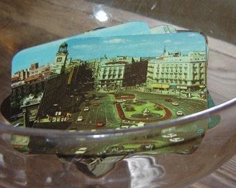 vintage european coasters, set of six