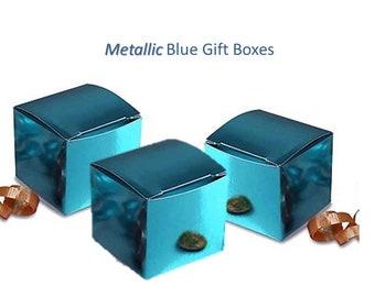 Metallic Blue Boxes - 12 Blue Gift Boxes Blue Favor Boxes Baby Shower Boxes 12 Blue Gift Boxes Christening Favor Box Shower Favor Boxes