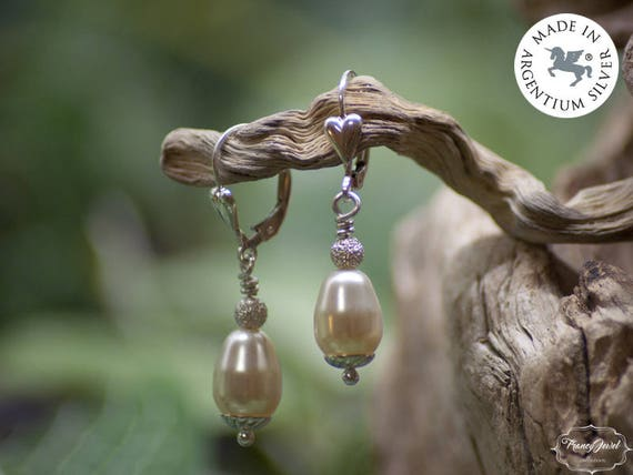 Earrings pearl, heart earrings, pendant earrings, ethical earrings, Argentium 935, bridal gift, made in Italy, handmade jewels, bridal party