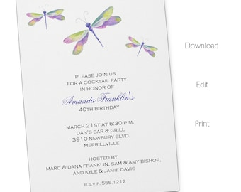 Dragonfly Invitation | Adult Birthday | Printable Editable Digital PDF File | Instant Download | ABI302DIY
