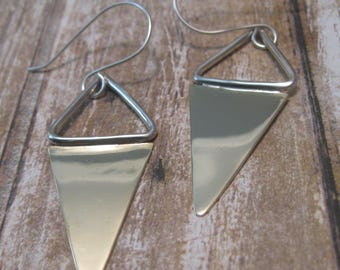 Mixed Metal Triangle Metal Earrings - Sterling Silver and Brass Earrings - Gift for Her - Dangle Earrings