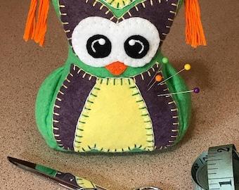 Wool Felt Pincushion Owl