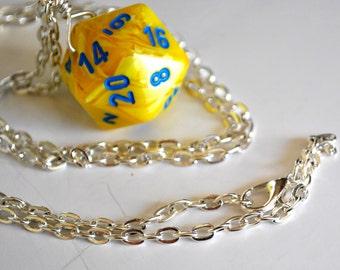 Yellow Dice Necklace - Yellow Swirl D20 Twenty Sided Dice Pendant - Geeky Gamer Jewelry Dice Jewelry