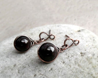 Garnet Stud Earrings, January Birthstone, Wire Wrapped Dangle Stud Earrings, Base Chakra, Red Gemstone Stud Earrings,Dainty  Gift for Her