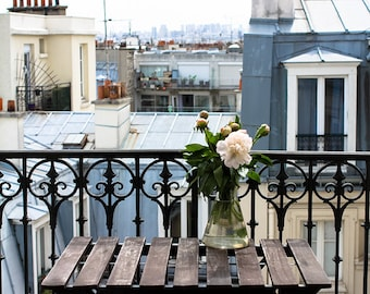 Paris Photography, Spring in the Paris Apartment, Pink Peony on the Paris Balcony,  Pink, Montmartre, Spring in Paris, flower decor