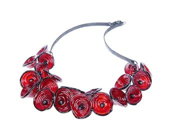 Red statement necklace, Burgundy statement necklace, Red statement jewelry, Floral statement necklace