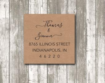 Return address label - custom- 2  x 2 inch square, brown kraft label, custom return address label, square label, custom sticker - SET OF 20