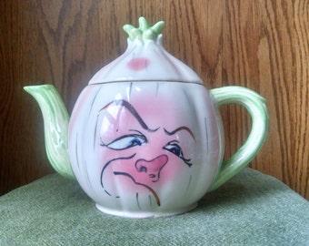 Vintage Lefton Figural Face Teapot or Coffee Pot Server