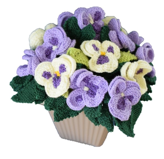 Pot of knitted pansies knitting pattern for pansies knitted