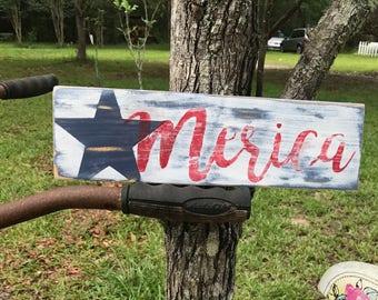 Merica rustic wood sign