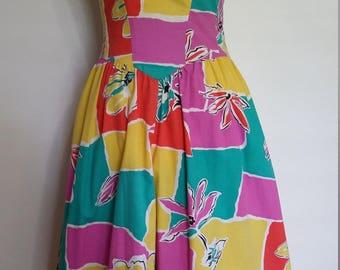 Colorblock sundress, S, M, cotton sun ress, 70's dress, 80's dress, vintage 80s, sun dress, yellow dress, pink dress, turquoise dress