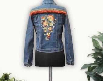 Denim Jacket, Denim, Embroidered Denim Jacket, Embroidered denim, jacket, Jean Jacket, Women's Jean Jacket, denim, jean, boho jacket