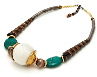 Striped Horn Ceramic White Globe Necklace