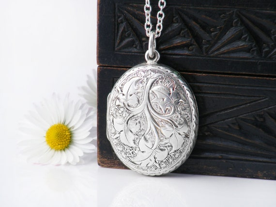 Victorian Locket | Sterling Silver Antique Locket Necklace | Hand Chased Ivy Leaves, Belt Buckle Design Oval - 30 Inch Sterling Silver Chain