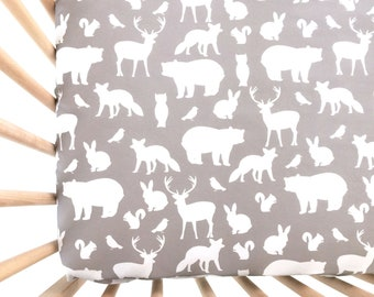 Crib Sheet Gray Woodland Party. Fitted Crib Sheet. Baby Bedding. Crib Bedding. Minky Crib Sheet. Crib Sheets. Bear Crib Sheet.