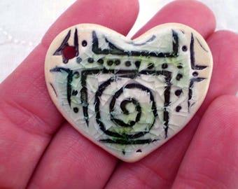 Spiral Heart Bead, Artisan Bead, Recycled Glass Bead, Yoga Bead, Unusual Bead, Ceramic Bead, Pottery Bead, Clay Bead, Boho Bead (A10)