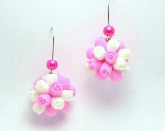 roses earrings, cold porcelain, flower earrings, yellow earrings, gift for her, rustic style, studs earrings, white roses earrings, yellow