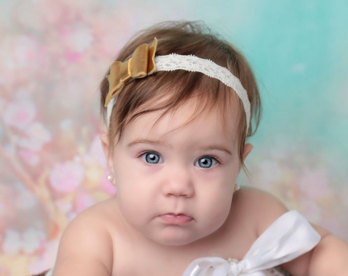 Gold and Lace Felt Bow Headband for newborns and up, perfect for photoshoots, choose elastic lace color, by Lil Miss Sweet Pea
