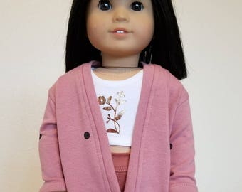 Dusty Pink with Dark Burgundy Dots Cardigan  for American Girl  and other 18 inch dolls by The Glam Doll