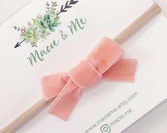 Peach Velvet Hand Tied Bow Hair Clip or Headband / Macie and Me