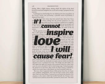 Frankenstein Quotes Book Page Art If I Cannot Inspire Love Print Art For Kids Room Frankenstein Poster Gift Art Frankenstein Art Horror Art