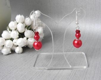 Red earrings Pearl 3 pearls v1