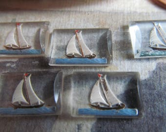 6 Vintage  Reversed Sailboat Painting On Glass -Made In West Germany ...Sail Away With Me