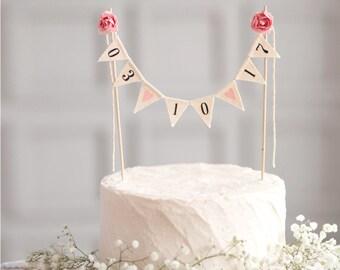 wedding date cake topper, Wedding Date Banner, Burlap wedding cake topper, date cake topper, custom cake topper, rustic wedding cake topper