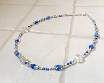 Blue, Sparkly, Beaded Necklace and Earrings Set