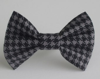 Grey and Black Houndstooth Bow Tie