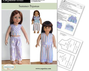 """Pajamas Doll Clothes Pattern as Downloadable PDF, Comes in 2 sizes: for 18"""" American Girl and slim Carpatina dolls"""