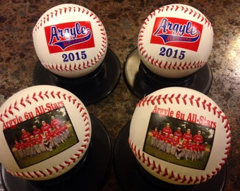 Personalized Custom Baseballs for Coaches' Gifts, Baseball Gifts, Senior Gifts, Sponsor Gifts and Team Awards. Print on the Front and Back