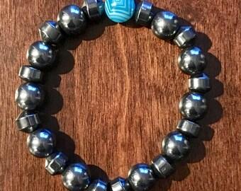Hematite and Blue Agate Bracelet