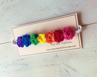 Rainbow Felt Headband, Felt Headband, Felt Flower Headband, Infant Headband, Toddler Headband, Rainbow Flower Headband