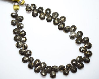 """Beautiful Natural Pyrite Faceted Pear Shape Beads - Pyrite Pear Shape Briolette , 7.5x5.5 - 8.5x6.5 mm , 8"""" - BL949"""
