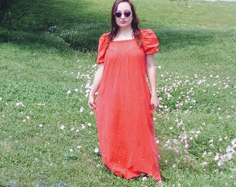 1970's Tom Bezduda for Barad Co Over-sized Red Housedress