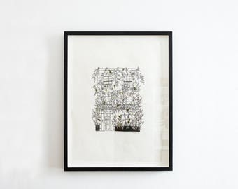 London Vine House (Framed) Pen and Ink Drawing With Embroidered Leaves - Original by Britt Fabello