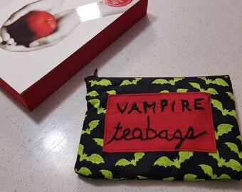 Vampire Teabag purse - unmentionable bag - tampon pads pouch - zip bag - feminine hygiene
