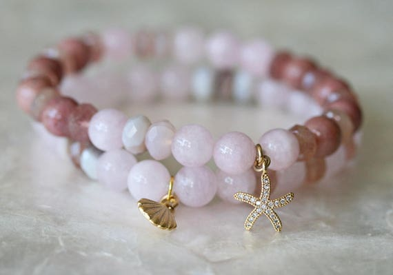 Pink Gemstone Bracelet Set with Ocean Charms