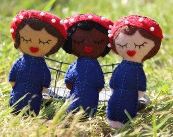 Rosie the Riveter brooch: felt and beads brooch, feminist gift, female power, birthday, Christmas, present
