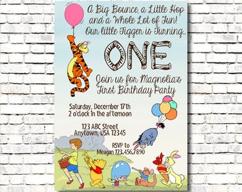 Tigger invitations etsy tigger themed birthday invitation winnie the pooh filmwisefo