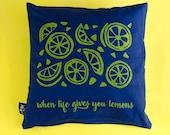Pillows lime screen print...