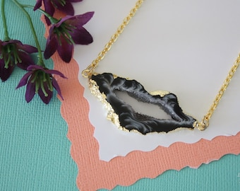 Geode Necklace Gold, Crystal Necklace, Double Sided Geode Agate Slice, Druzy Pendant, Natural Pendant, Natural Stone, GDSN58