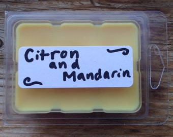 Citron and mandarin soy wax melts, citrus wax tarts, citrus wax melts, scented soy tarts, candle melts, flameless candle, soy melts