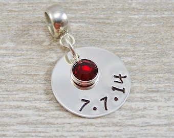 Hand Stamped Jewelry - Personalized Jewelry - Charm For Bracelet - Sterling Silver - One Date One Birthstone - Lobster Clasp or Slider Bail